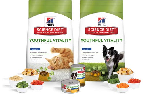 Bags of Hill's Science Diet Youthful Vitality cat & dog food, specially formulated for your senior pet.
